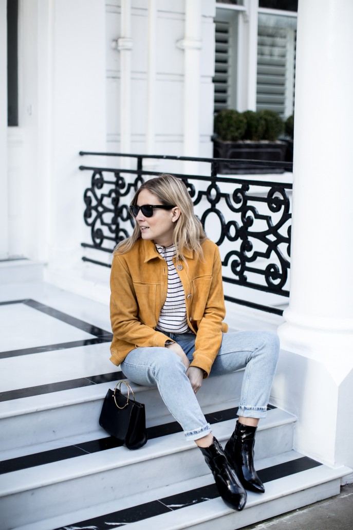 Fashion Me Now | Mustard Suede & Stripes_